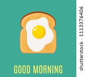 breakfast concept with egg and...   Shutterstock .eps vector #1113376406
