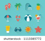 flat beach holidays icons set... | Shutterstock .eps vector #1113385772