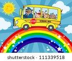 school bus with happy children... | Shutterstock . vector #111339518