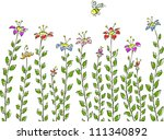 flower with a bee on a white... | Shutterstock .eps vector #111340892