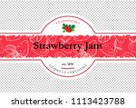 hand drawing strawberry jam... | Shutterstock .eps vector #1113423788