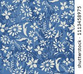 seamless floral pattern in folk ... | Shutterstock .eps vector #1113458975