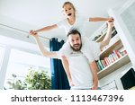 the happy father and his six...   Shutterstock . vector #1113467396