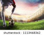 soccer striker ready to kicks... | Shutterstock . vector #1113468362