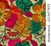 exotic bright print with exotic ... | Shutterstock .eps vector #1113477875