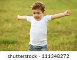 baby boy with brown hair having ... | Shutterstock . vector #111348272