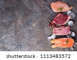 raw chicken  meat and fish with ... | Shutterstock . vector #1113483572