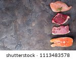 raw chicken  meat and fish... | Shutterstock . vector #1113483578