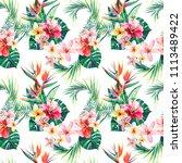 bright green herbal tropical...   Shutterstock . vector #1113489422