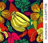 exotic banana print design with ... | Shutterstock .eps vector #1113497738