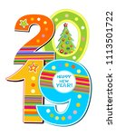 2019 happy new year background... | Shutterstock . vector #1113501722