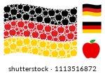 waving german state flag....   Shutterstock .eps vector #1113516872