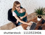 business woman working with...   Shutterstock . vector #1113523406