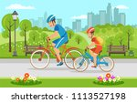 cartoon father with son riding... | Shutterstock .eps vector #1113527198