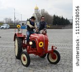 Small photo of MOSCOW, RUSSIA - APRIL 25, 2012: Classic PORSCHE tractor at old timer cars rally start