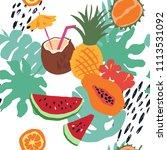 minimal summer trendy vector... | Shutterstock .eps vector #1113531092