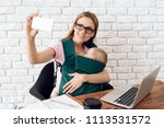 smiling business woman with...   Shutterstock . vector #1113531572