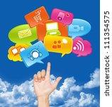 hand with internet... | Shutterstock . vector #111354575
