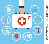 first aid kit in doctor hand.... | Shutterstock . vector #1113546308