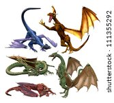 3d Collection Of Dragons On...