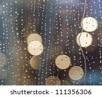 Drops Of Rain On Window With...
