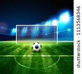 soccer ball on goalie goal... | Shutterstock .eps vector #1113568346