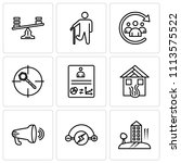 set of 9 simple editable icons... | Shutterstock .eps vector #1113575522