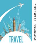 blue travel card with world... | Shutterstock .eps vector #1113584312