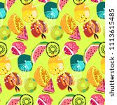 cute saturated vegan pattern... | Shutterstock .eps vector #1113615485
