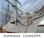 dockyard with heavy freight... | Shutterstock . vector #1113622355