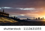 redcar beach at sunset. north... | Shutterstock . vector #1113631055