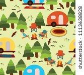camping scene   caravan ... | Shutterstock .eps vector #1113638828
