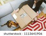 business woman unpacking... | Shutterstock . vector #1113641906