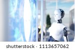 people and robots. sci fi... | Shutterstock . vector #1113657062
