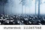 scary old skulls in fog night... | Shutterstock . vector #1113657068