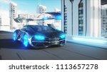 black futuristic electric car... | Shutterstock . vector #1113657278