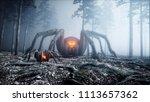 scary gigant spider in fog... | Shutterstock . vector #1113657362