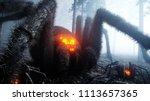 scary gigant spider in fog... | Shutterstock . vector #1113657365