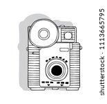 hand drawn vintage camera... | Shutterstock .eps vector #1113665795