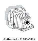 hand drawn vintage camera... | Shutterstock .eps vector #1113666065