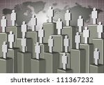 People standing on different levels with world map in the background / Corporate ladder people - stock photo