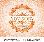 advisory orange mosaic emblem... | Shutterstock .eps vector #1113673406