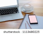 cup coffee with phone on... | Shutterstock . vector #1113680225