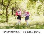 two happy school girls of... | Shutterstock . vector #1113681542