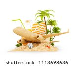 passenger airplane made of sand ... | Shutterstock . vector #1113698636