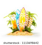 surf boards on paradise island... | Shutterstock . vector #1113698642
