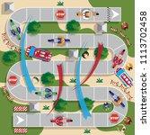 motorcycle racing. board game....   Shutterstock . vector #1113702458