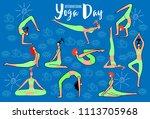 international day of yoga.... | Shutterstock .eps vector #1113705968