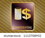 gold badge with stack of... | Shutterstock .eps vector #1113708932