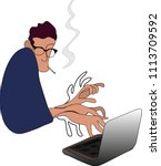 writer with smoking cigarette... | Shutterstock .eps vector #1113709592